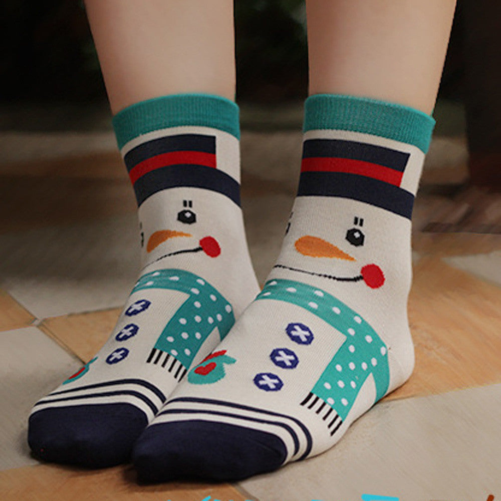 3D Cartoon Snowman Socks - Women Floor Wear Foot Wear Winter Cotton Socks. Item # 4DS-101CWS - 4D's T&D Inc