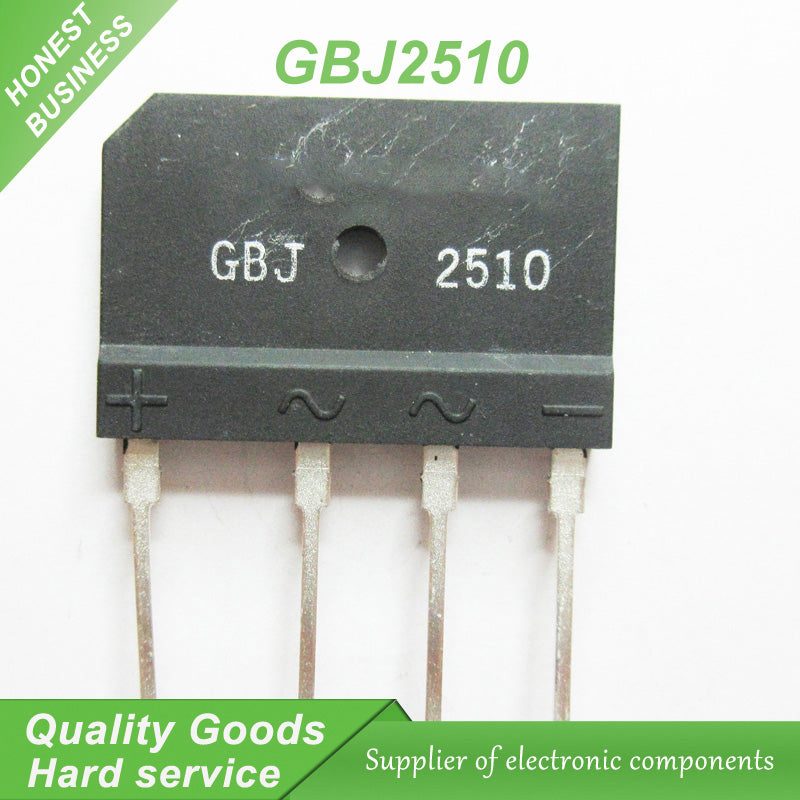 10 pcs GBJ2510 2510 ZIP Bridge Rectifiers 1000V 25A new original. FREE Shipping Within US - 4D's T&D Inc