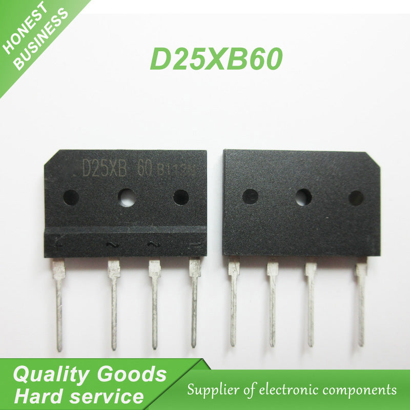 10 pcs D25XB60 25XB60 ZIP 600V 25A Bridge Rectifiers VRM=600 IFSM=350 new original - 4D's T&D Inc