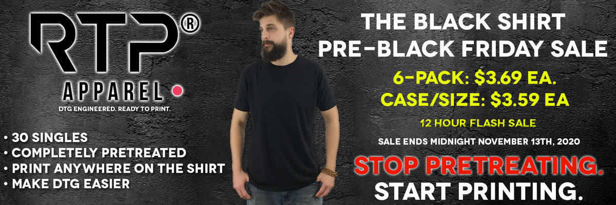 DTG Ready To Print Fully Pretreated Black Shirt FLASH Sale