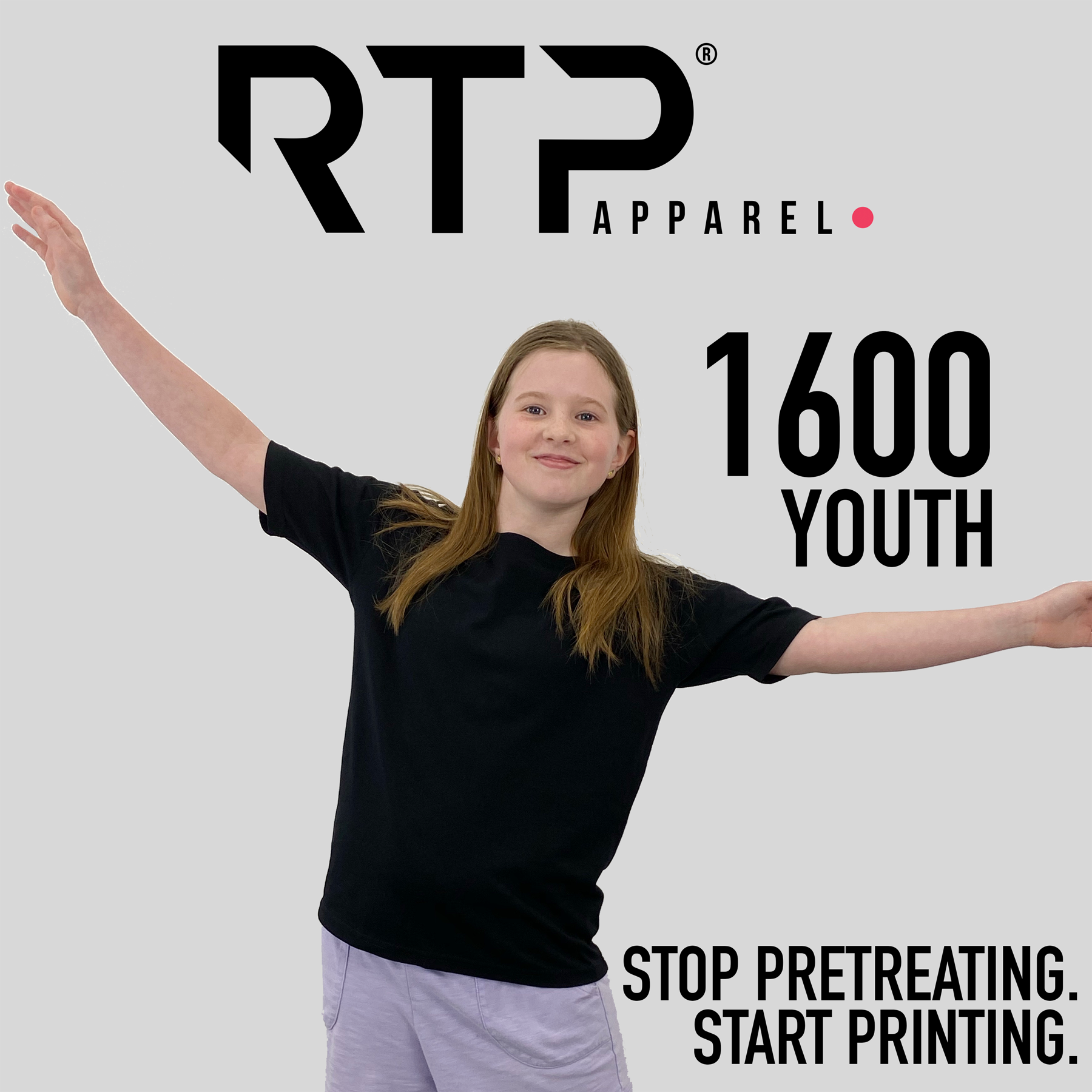 New RTP Apparel BLACK Youth Fully Pretreated Shirt Now Available