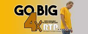 RTP Apparel Announces the Release of Size 4X in GOLD DTG Ready To Print Shirts