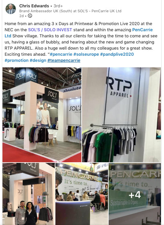 RTP Apparel at the Printwear & Promotion Live 2020 Show