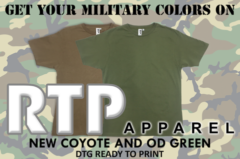 New Military Colored Shirt Available in RTP Apparel DTG Ready To Print Shirts