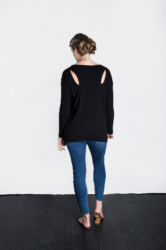 MATRON SAINT the innovator maternity long-sleeve cutout top black 102