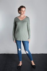 MATRON SAINT the innovator maternity long-sleeve cutout top sage 102