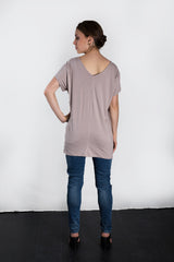 MATRON SAINT the premier maternity short-sleeve v-neck top dusty rose 130