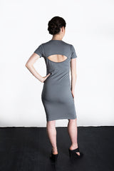 MATRON SAINT the rebel monarch maternity cutout back dress charcoal 109