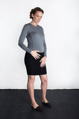 MATRON SAINT the royal maternity long-sleeve crew top charcoal 111