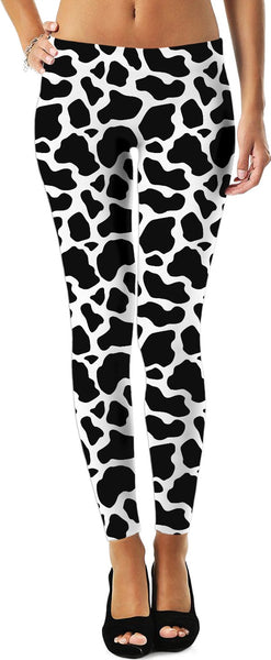 Cow Print Leggings (Black/White)