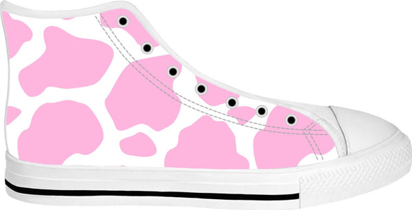 Cow Print Canvas High Top Shoes (Pink)