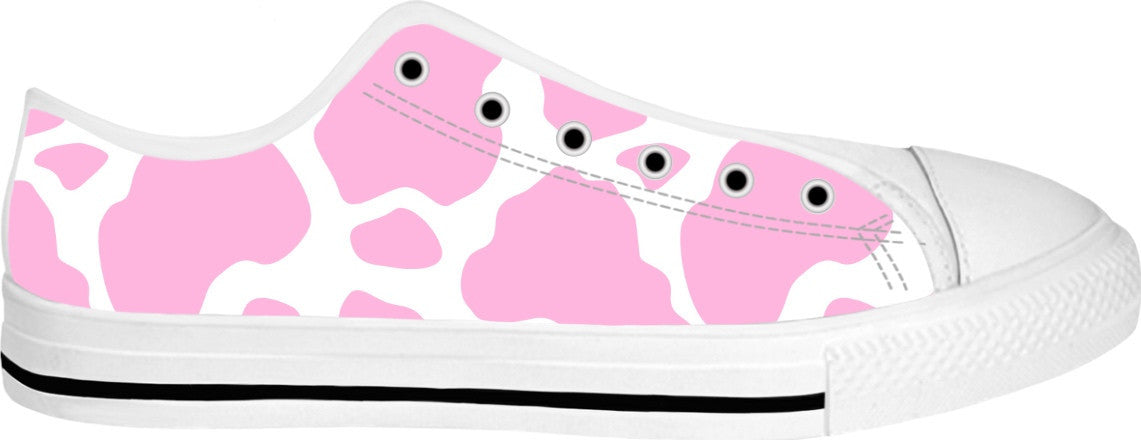 Cow Print Canvas Shoes (Pink)