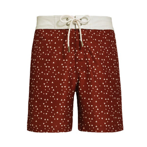 Barney La Brasa Red with white triangles shapes swim shorts - Blue Avenue