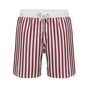 Classic Striped Cannes red and white swim shorts - Blue Avenue