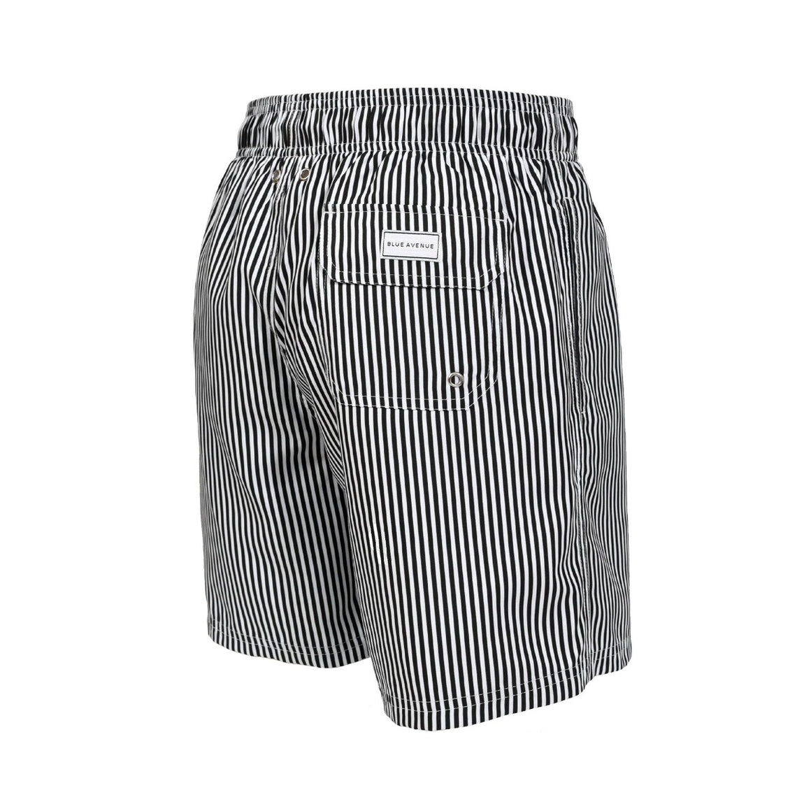 Classic Striped Garrão black and white swim shorts - Blue Avenue