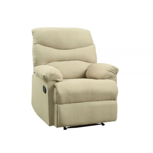 Arcadia Beige Microfiber Recliner (Motion) - Canales Furniture