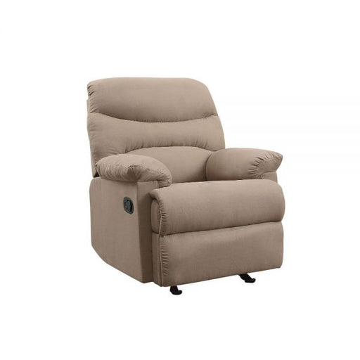 Arcadia Light Brown Microfiber Recliner (Motion) - Canales Furniture