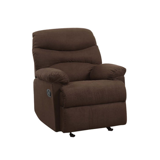 Arcadia Chocolate Microfiber Glider Recliner (Motion) - Canales Furniture