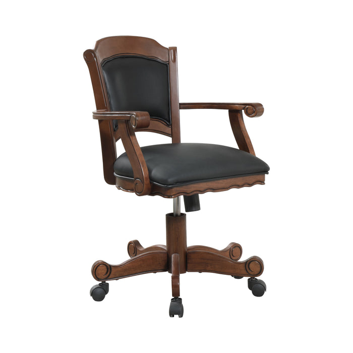 Turk Game Chair With Casters Black And Tobacco - Canales Furniture