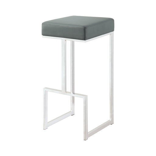 Square Bar Stool Grey And Chrome - Canales Furniture