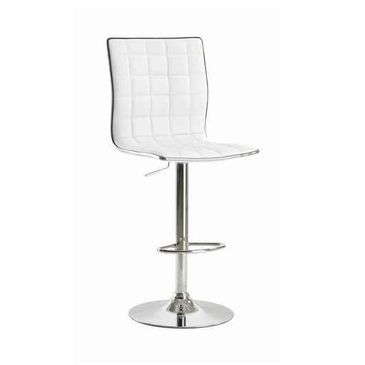 Upholstered Adjustable Bar Stools White And Chrome - Canales Furniture