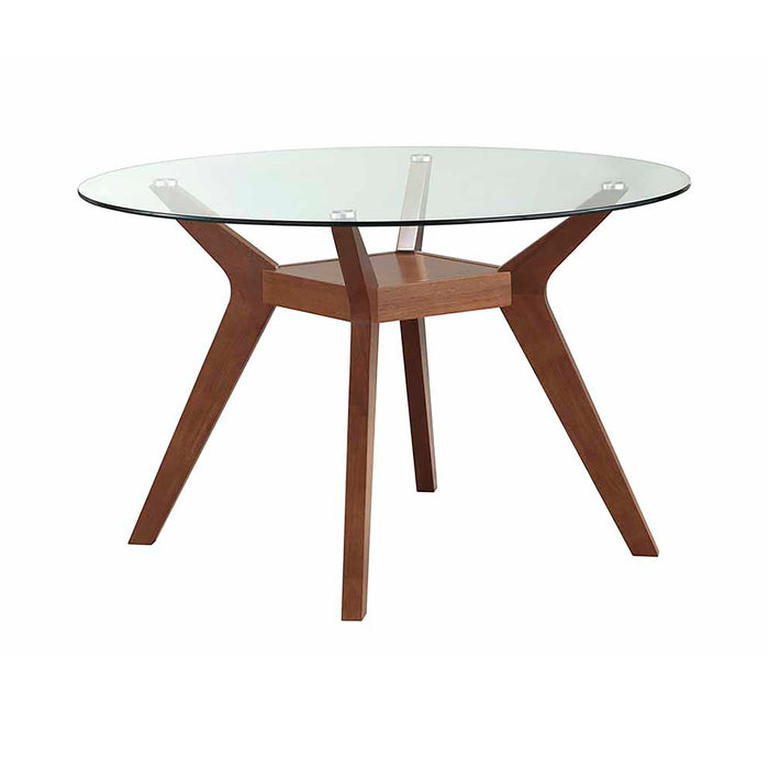 Paxton Round Glass Top Dining Table Nutmeg - Canales Furniture