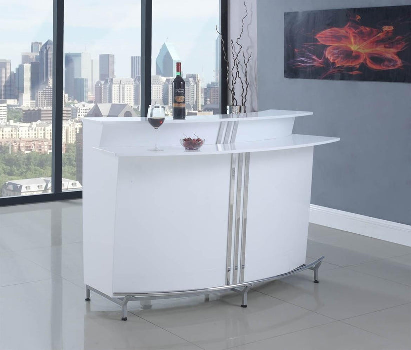3-Tier Bar Unit Glossy White - Canales Furniture