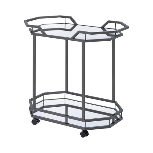 2-Tier Mirrored Serving Cart Black Nickel - Canales Furniture