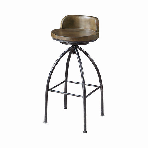 Swivel Bar Stool Cognac And Antique Black - Canales Furniture