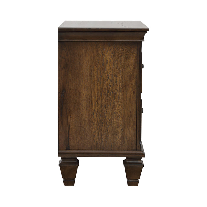 2-Drawer Nightstand With Pull Out Tray Burnished Oak - Canales Furniture