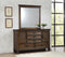 Franco 5-Drawer Dresser  And Mirror With 2 Louvered Doors Burnished Oak