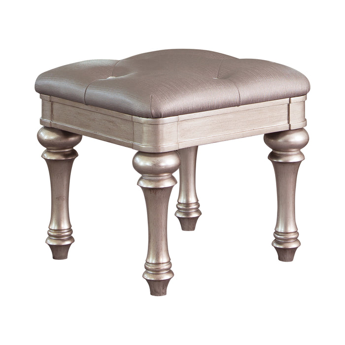 Upholstered Vanity Stool Metallic Platinum - Canales Furniture