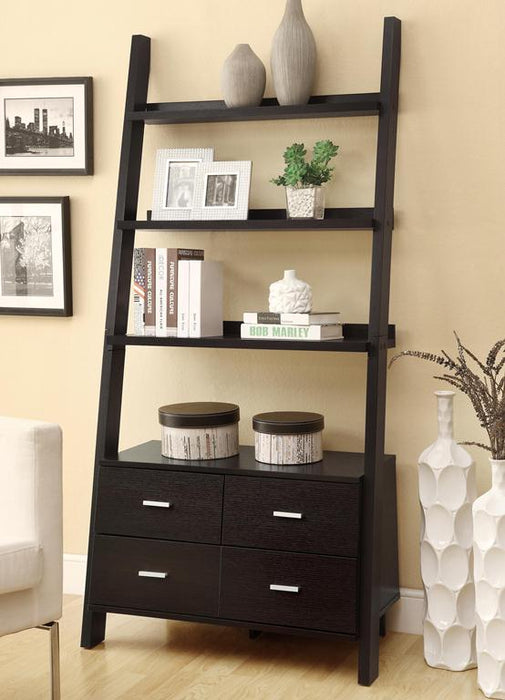 Bower 4-Drawer Storage Bookcase Cappuccino - Canales Furniture