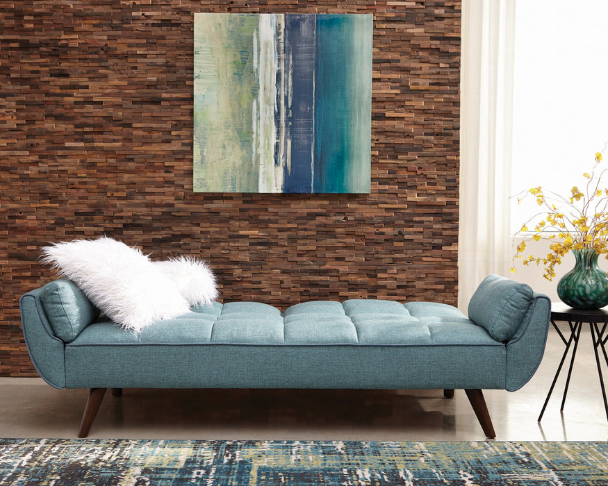 Caufield Biscuit-Tufted Sofa Bed Turquoise Blue - Canales Furniture