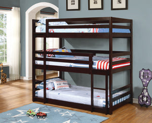 Sandler Triple Bunk Beds Bunkbeds Coaster Brown