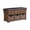 42″ 3-Drawer Storage Bench Brown