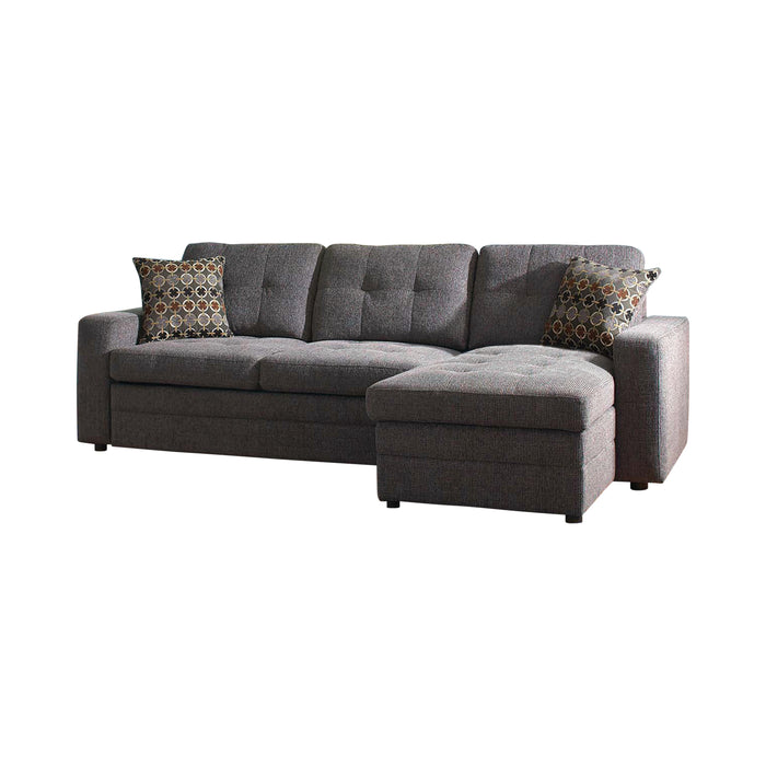 Gus Charcoal Sleeper Sectional - Canales Furniture