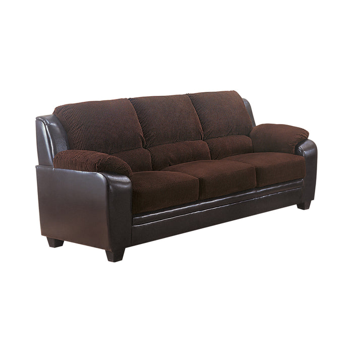 Monika Upholstered Stationary Sofa Chocolate - Canales Furniture