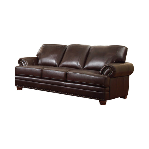 Colton Rolled Arm Upholstered Sofa Brown - Canales Furniture