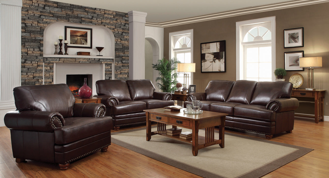 Colton Rolled Arm Upholstered Loveseat Brown - Canales Furniture