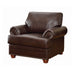 Colton Rolled Arm Upholstered Chair Brown - Canales Furniture