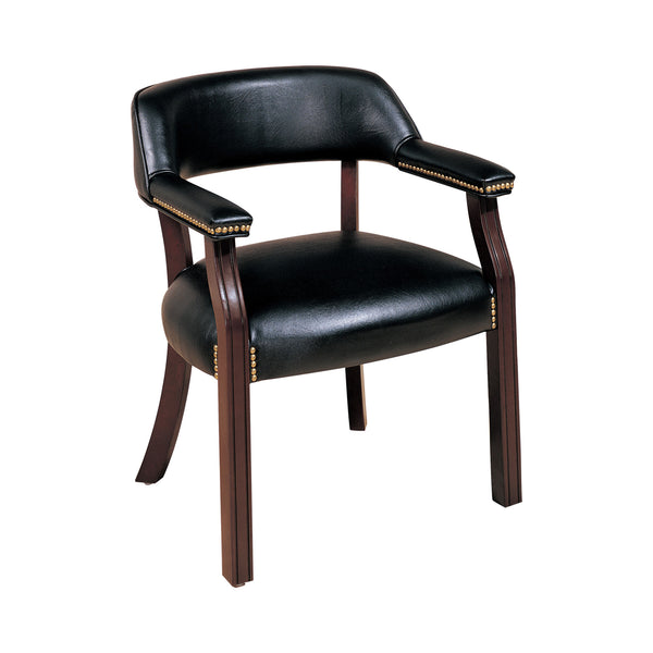 Upholstered Office Chair With Nailhead Trim Black