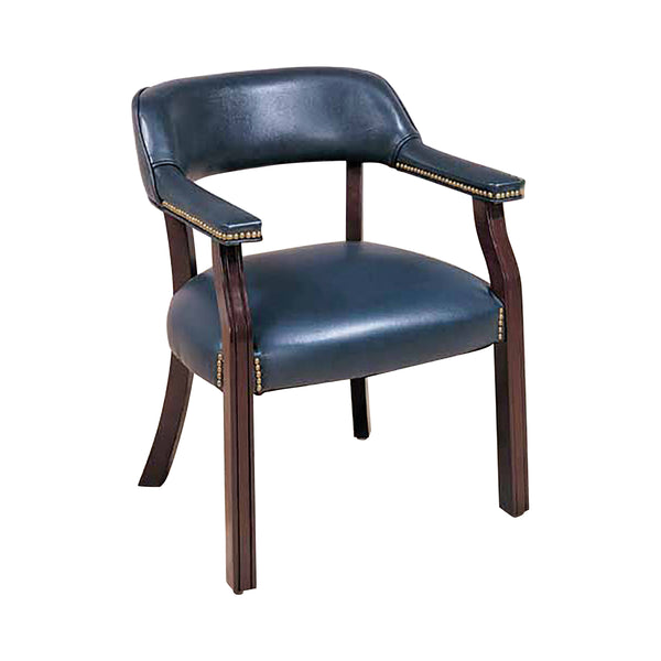 Upholstered Office Chair With Nailhead Trim Blue