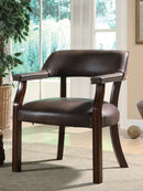 Upholstered Office Chair With Nailhead Trim Brown