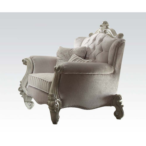 Versailles Ivory Velvet & Bone White Chair - Canales Furniture