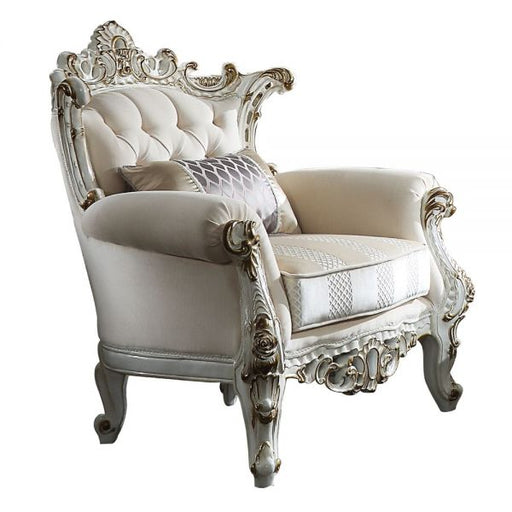 ACME Picardy II Chair w/1 Pillow Fabric & Antique Pearl - Canales Furniture