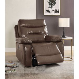 Aashi Brown Leather-Gel Match Recliner (Power Motion) - Canales Furniture