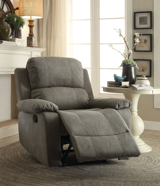 Bina Gray Polished Microfiber Recliner (Motion) - Canales Furniture