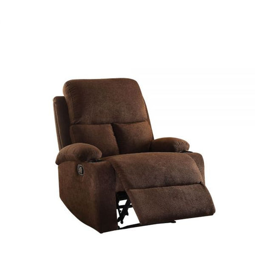 Rosia Chocolate Velvet Recliner (Motion) - Canales Furniture