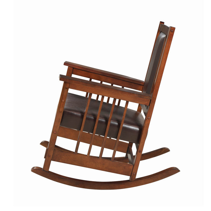 Upholstered Rocking Chair Tobacco And Dark Brown - Canales Furniture